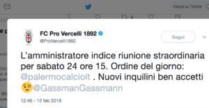 tweet Pro vercelli Gassmann