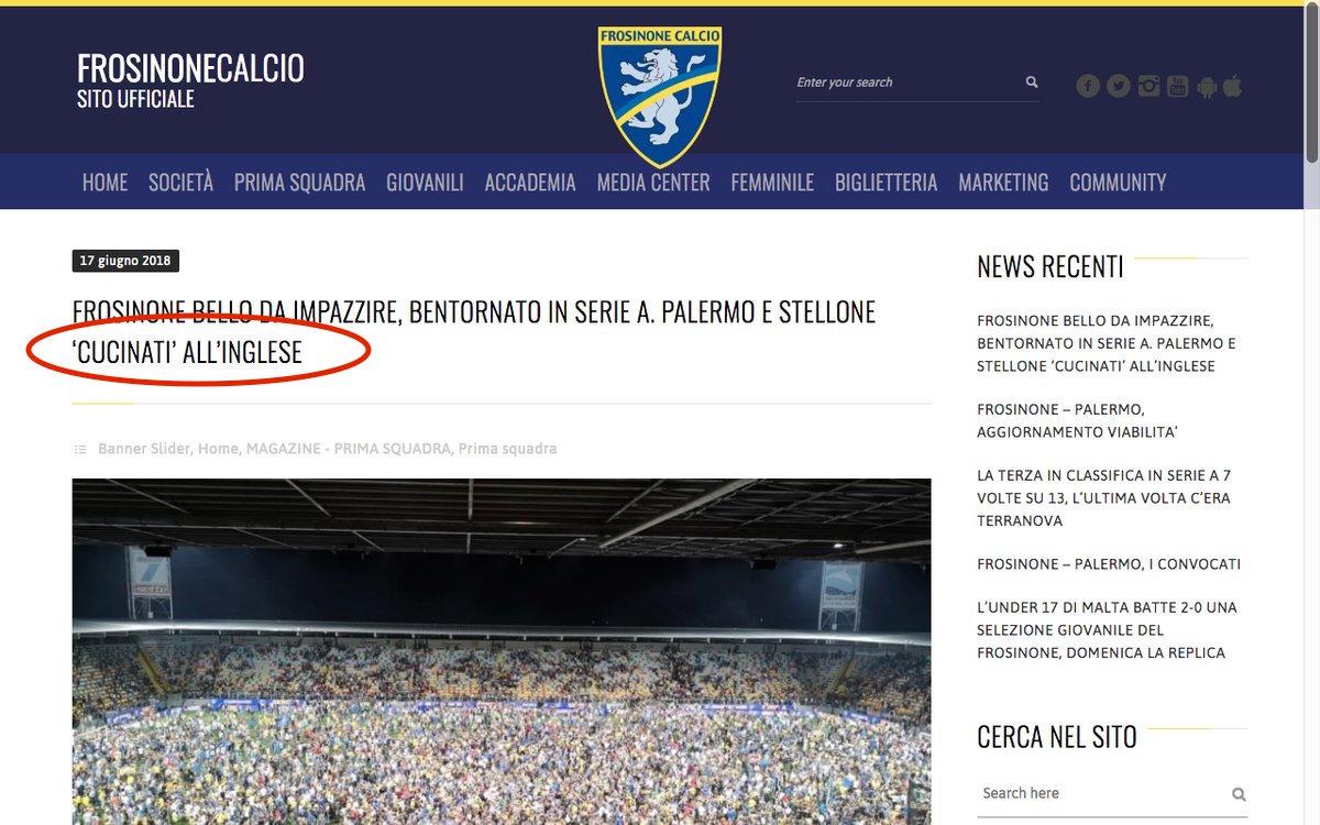 """Il Frosinone sbeffeggia il Palermo, ma poi ci ripensa. Sul web in mattinata era iniziato a circolare il comunicato stampa del club frusinate che raccontava il successo contro i rosa per 2-0 nella finale di ritorno: un racconto che omette alcuni dettagli (soprattutto l'episodio dei palloni buttati in campo dai propri giocatori) e che per alcune ore ha avuto un titolo derisorio. RICORSO FROSINONE – PALERMO: I FOTOGRAMMI DELLA DISCORDIA Il comuncato dei ciociari viene infatti titolato """"Palermo e Stellone cucinati all'inglese"""". Dopo un po' però il titolo viene modificato in una forma più neutrale """"Palermo e Stellone battuti all'inglese""""."""