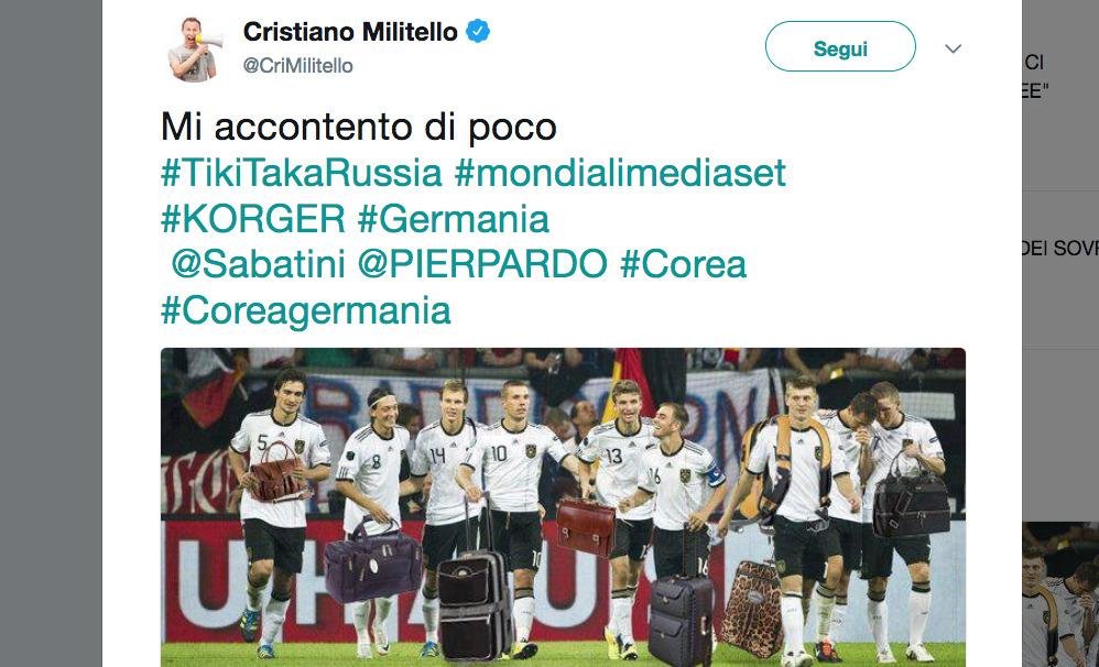 """La Germania è fuori dal mondiale e il web, inevitabilmente, si scatena: tantissimi i post e le foto di sfottò ai """"vicini"""" mai tanto amati tedeschi. Tanti riferimenti alla Corea: quella del Nord a noi italiani ci causò parecchi dolori al mondiale del '66, ma anche quella del Sud nel 2002 con il famigerato arbitro Moreno che fischiò di tutto e di più a favore degli asiatici. LOW: """"MERITIAMO L'ELIMINAZIONE. ECCO DI CHI E' LA COLPA"""" """"A ciascuno la sua Corea"""" scrive ironicamente un utente. """"Chi di Svezia ferisce, di Svezia perisce"""" recita un post Facebook, oppure Cristiano Militello, che"""