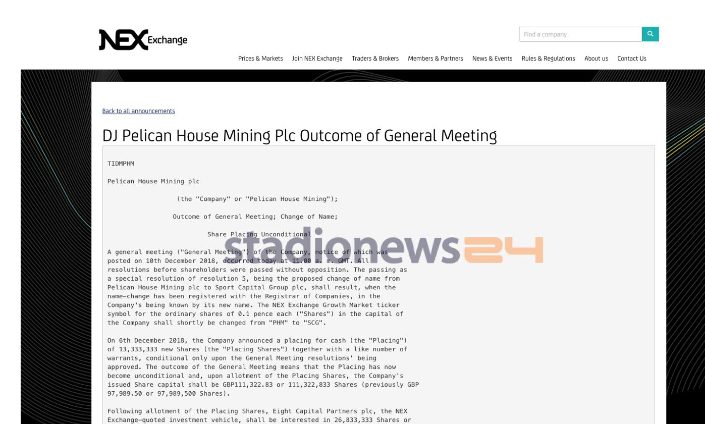 """Come da previsioni, la Pelican House Mining plc (società oggetto degli investimenti di John Micheal Treacy in chiave Palermo) ha comunicato al listino NEX Exchange di Londra l'ok al cambio di ragione socialein Sport Capital Group plc. Il primo passo verso quelli che dovrebbero essere i futuri investimenti nel club rosanero da parte della nuova proprietà. FOSCHI: """"GLI INGLESI? PERSONE SERIE"""" Come si legge nel comunicato (a firmaSimon Grant-Rennick – chairman del Board), l'incontro avvenuto negli uffici londinesi dellaPeterhouse Capital Limited (advisor del fondo di Treacy, Eight Capital) ha deliberato tutte le risoluzioni all'ordine del giorno, compreso il cambio di"""