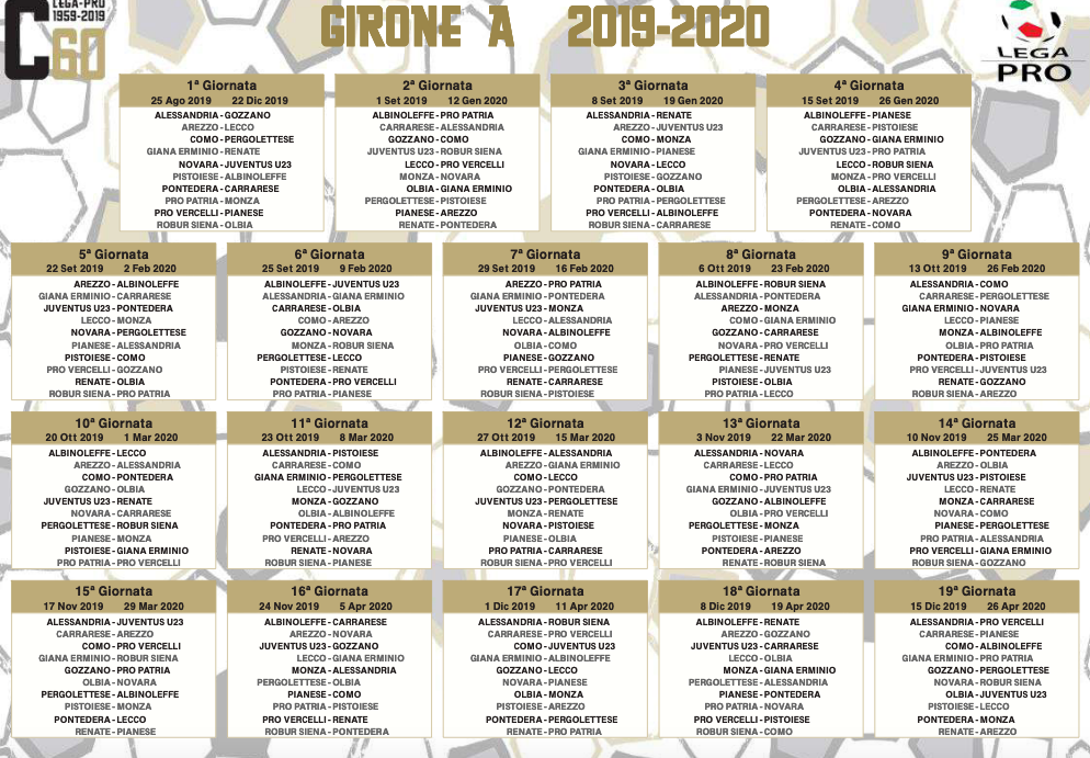 Calendario 2020 Pdf Stampabile.Serie C Il Calendario Dei Gironi A B E C Foto