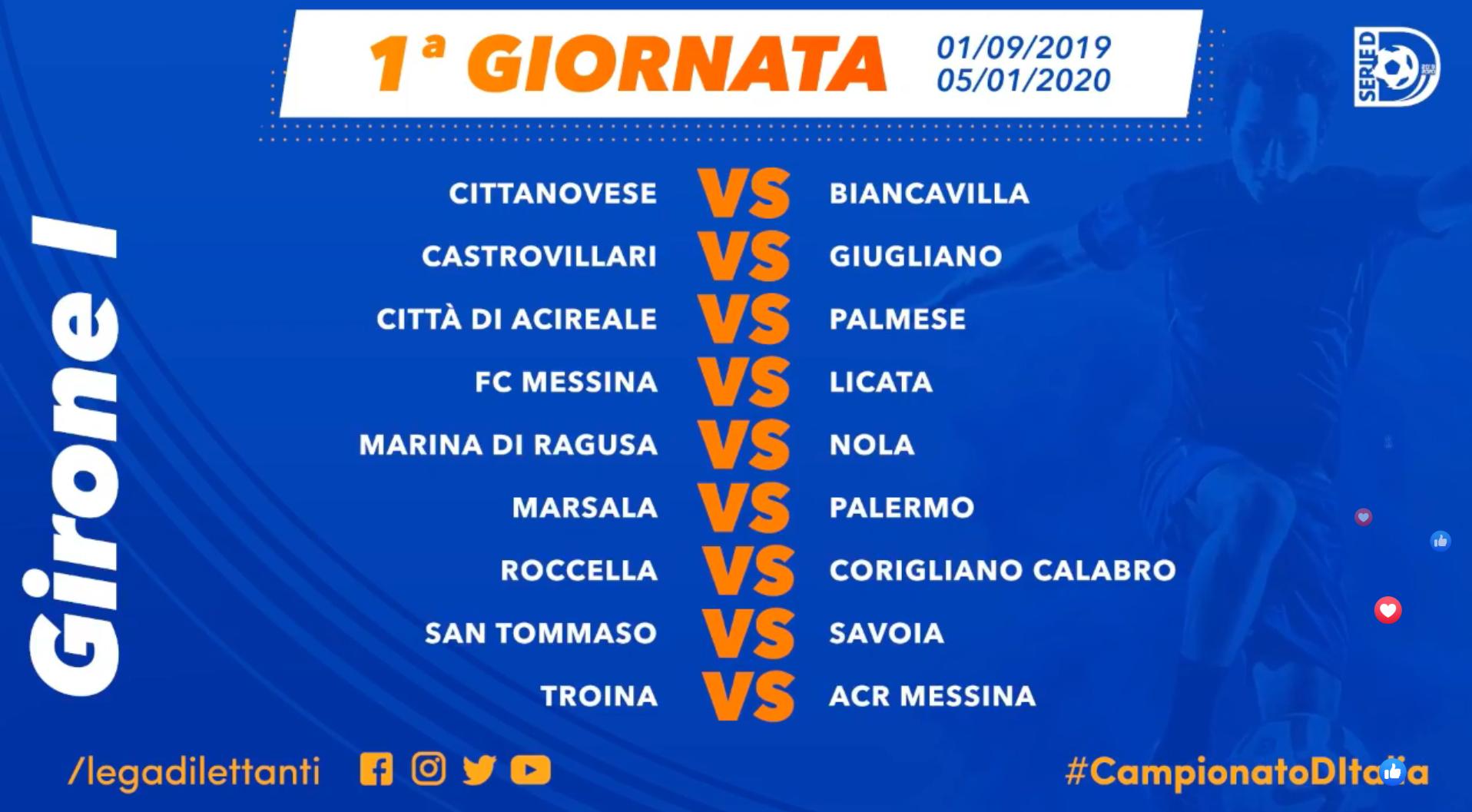 Calendario Serie A 38 Giornata.Serie D Il Palermo Comincia A Marsala Poi San Tommaso E