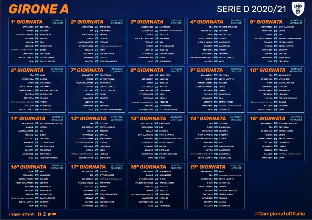 Serie D 2020/21, tutti i calendari completi