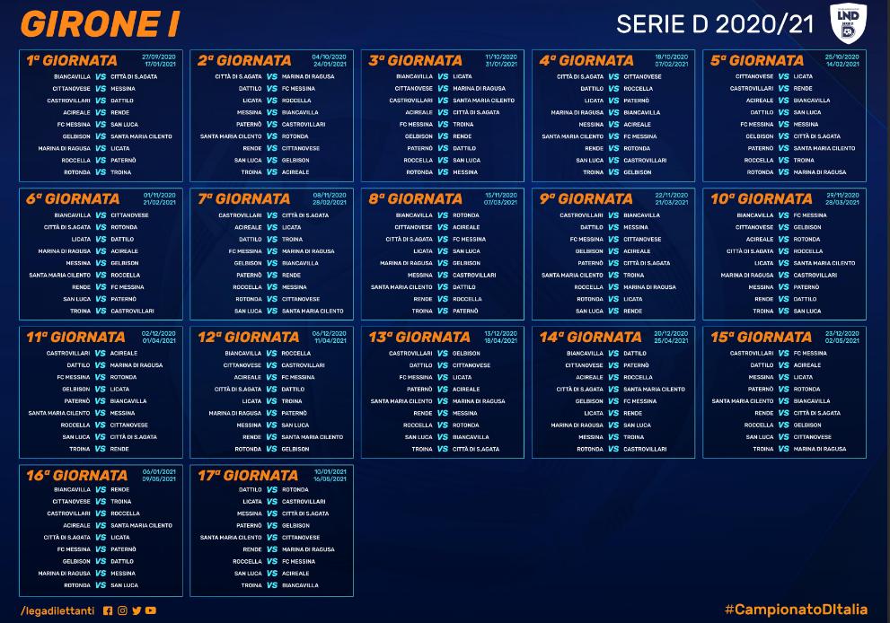 Calendario Serie D Girone G 2020 2021 Serie D 2020/21, il calendario completo e le partite del Girone I